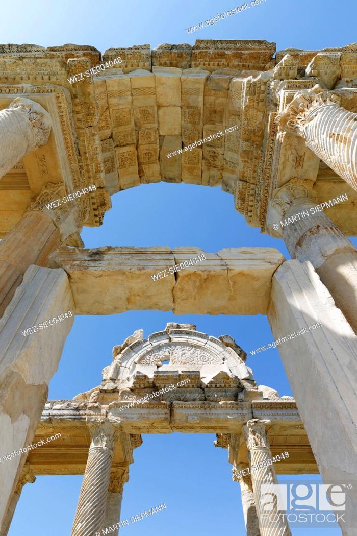 Stock Photo: Turkey, View of Tetrapylon in Aphrodisias.