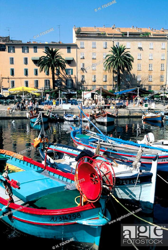 Stock Photo: France, Corsica, Ajaccio, boats near harbour.
