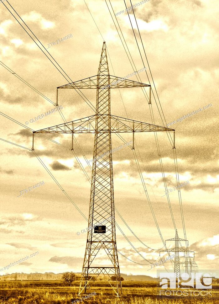 Stock Photo: Pylon, León province, Castilla-Leon, Spain.
