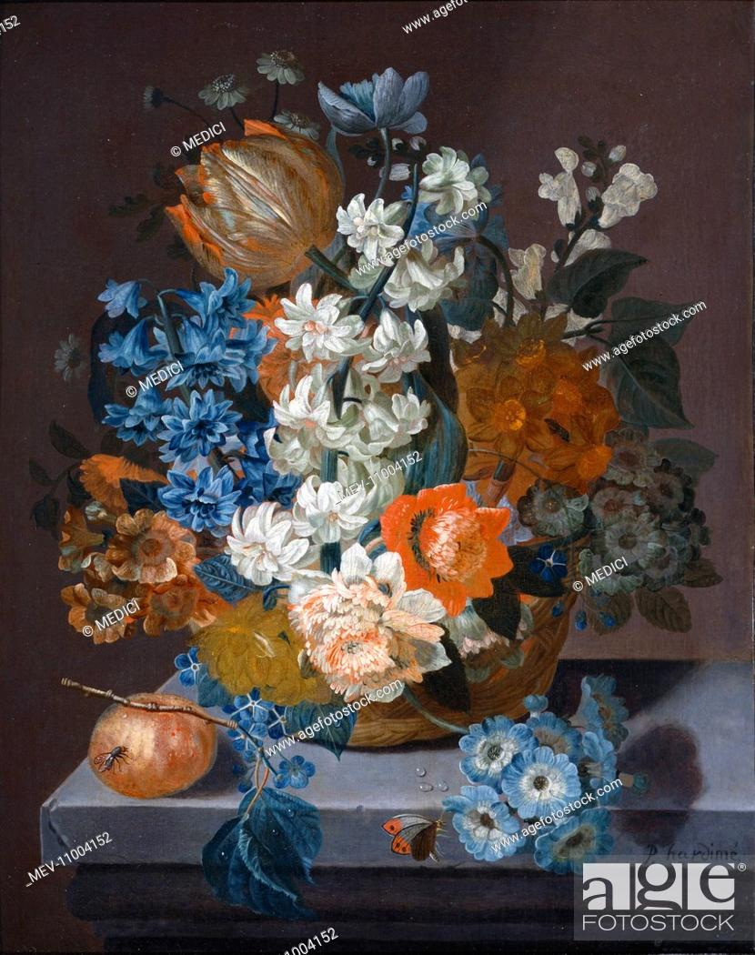 Still Life With A Bouquet Of Mixed Flowers Blue Orange And White Flowers In A Basket A Butterfly Stock Photo Picture And Rights Managed Image Pic Mev 11004152 Agefotostock