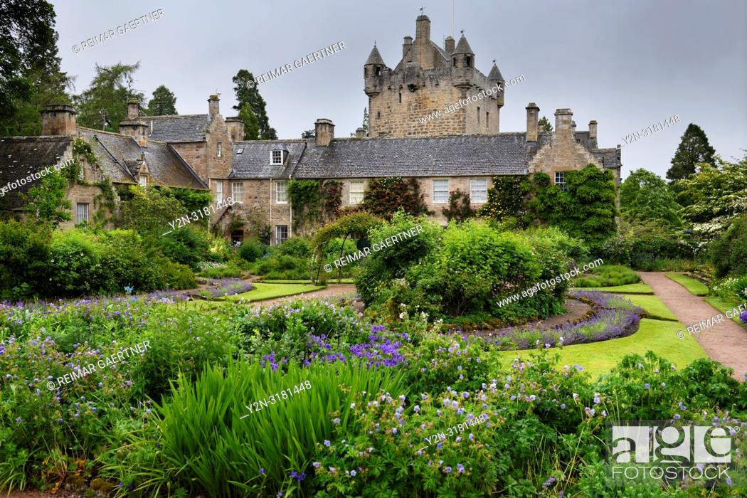 Stock Photo: The formal Flower Garden south of Cawdor Castle after a rain in Cawdor Nairn Scotland UK.