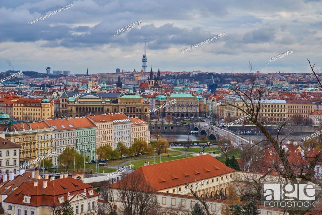 Stock Photo: Europe Prague, Czech Republic, landscape from prague castle.