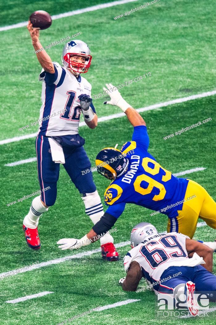 Stock Photo: New England Patriots quarterback Tom Brady (12) during Super Bowl LIII between the Los Angeles Rams and the New England Patriots at Mercedes-Benz Stadium in.