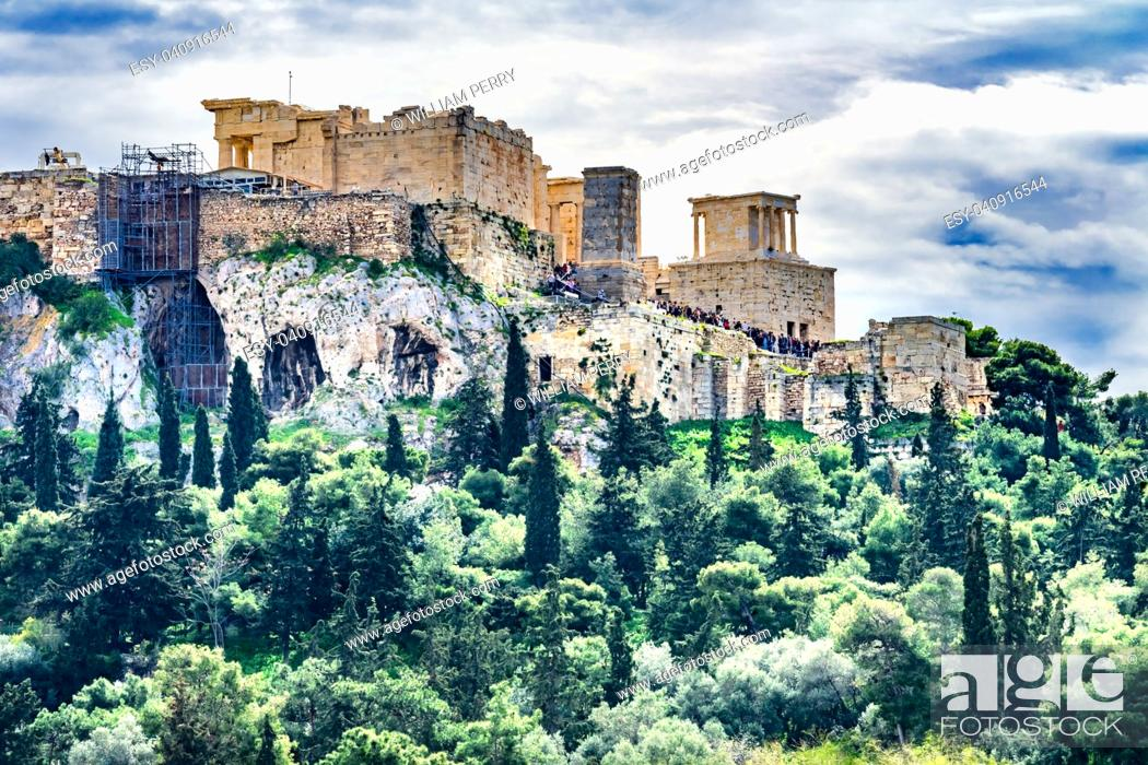 Stock Photo: Acopolis Green Trees Hill fromm Agora Temple of Athena Nike Propylaea Athens Greece Construction ended in 432 BC.
