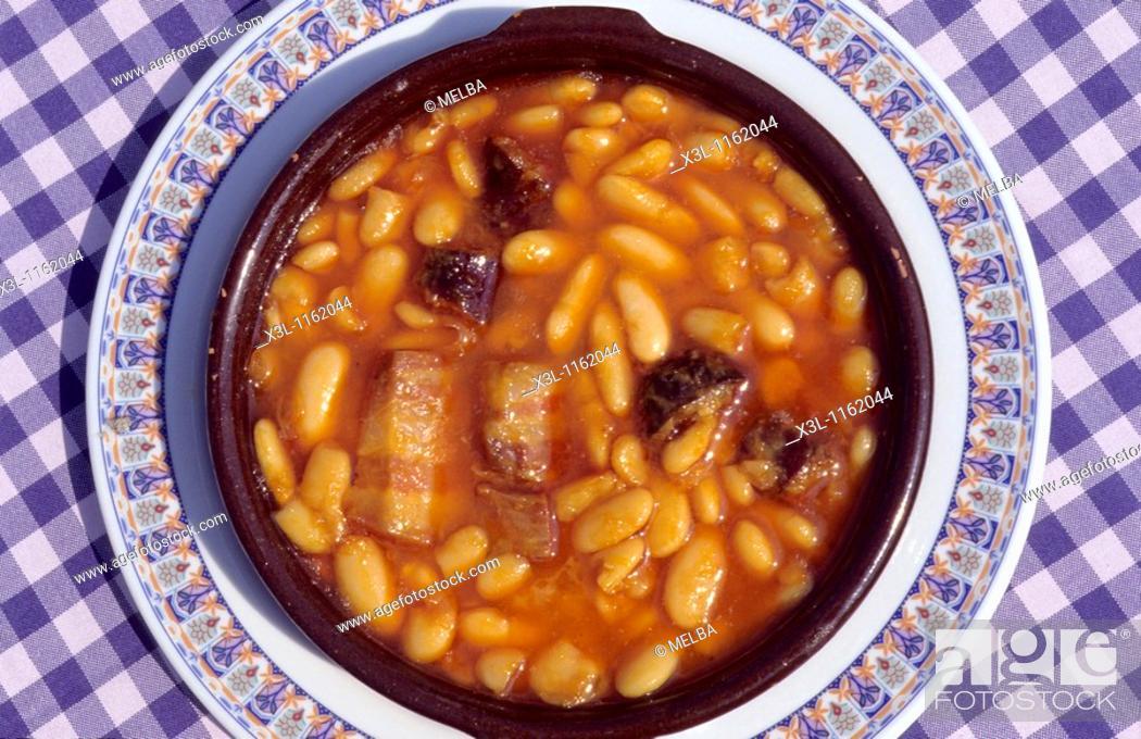 Stock Photo: Asturian stew made of beans, pork sausage and bacon Asturias Spain Typical food.