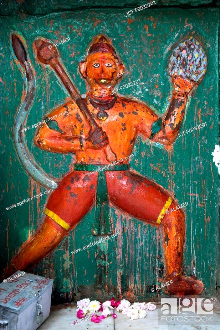 Stock Photo: India, Haryana, Kurukshetra, representation of the monkey god.