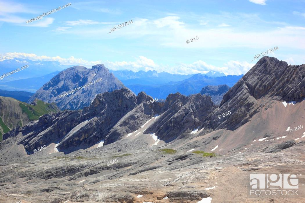 Stock Photo: View from Mt Zugspitze across the peaks of the Wetterstein range, border between Bavaria, Germany, and Tyrol, Austria, Europe.