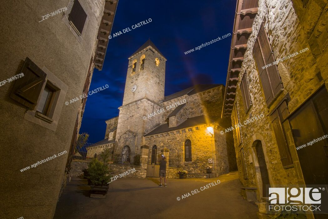 Stock Photo: Lanuza Huesca Aragon Spain on August 21, 2020: The village had to be abandoned in the 70's to build the reservoir and has been renovated by the original owners.
