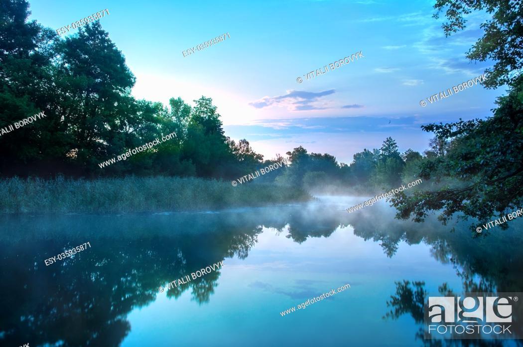 Stock Photo: Morning fog on a calm river, Seversky Donets river, Ukraine.