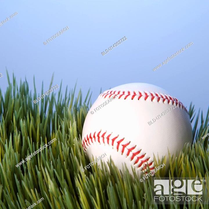 Stock Photo: Studio shot of baseball resting in grass.