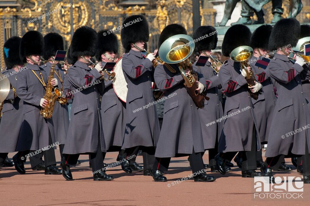 Stock Photo: Marching band at the Changing of the Guard ceremony outside Buckingham Palace in London,England.