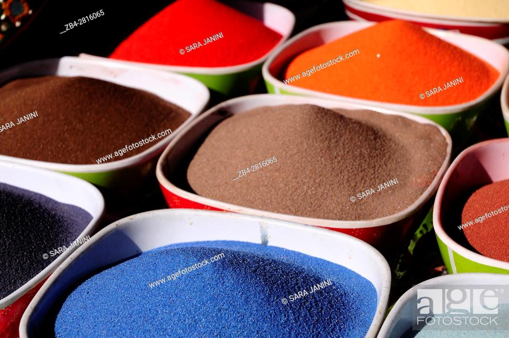 Stock Photo: Colored sand to make glass bottles, Amman, Jordan, Middle East.