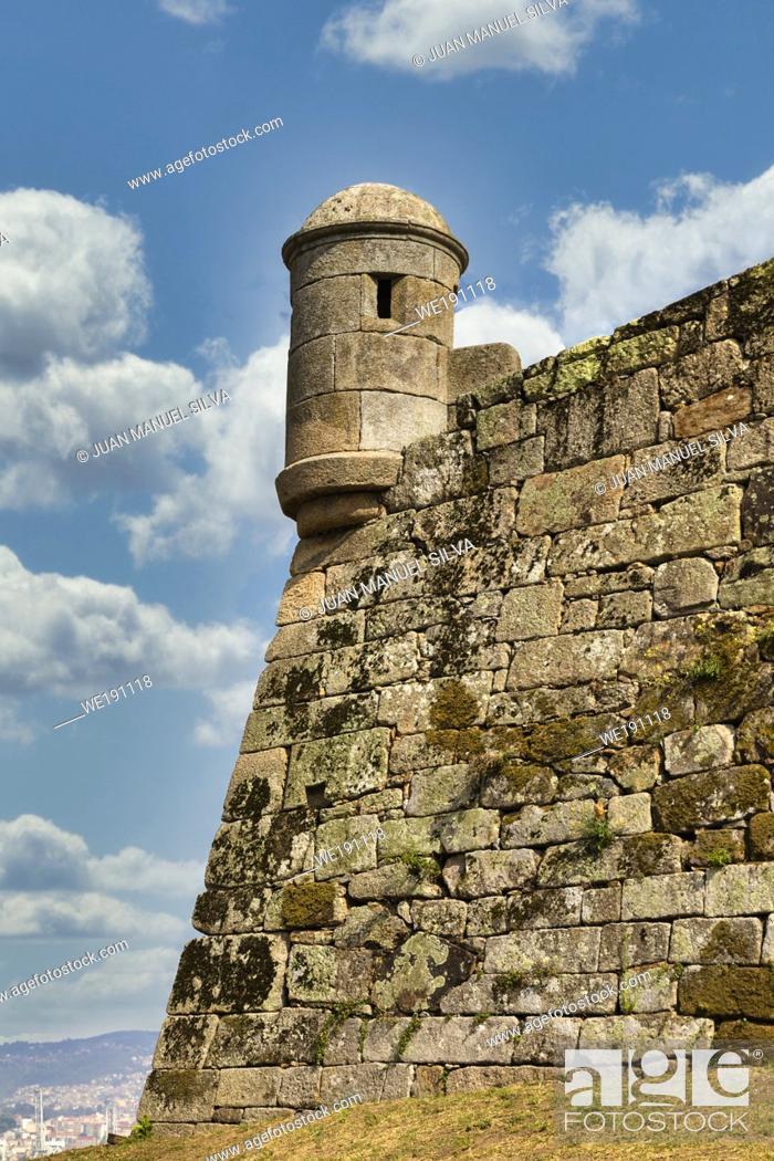 Stock Photo: Fortaleza De San Sebastian in the mountain of Castro, Vigo, Pontevedra, Galicia, Spain.