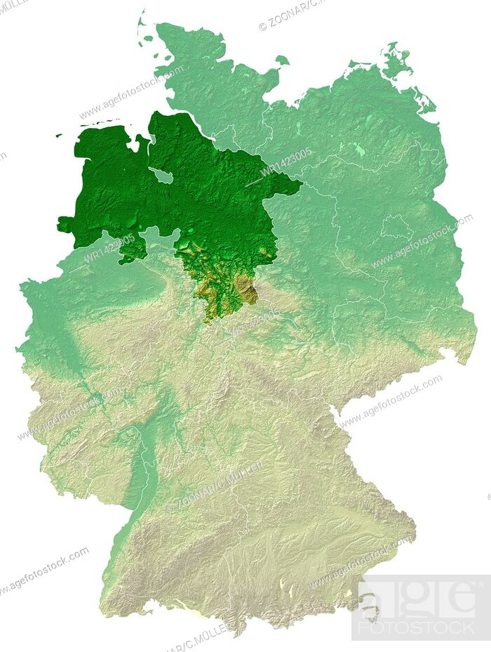 Stock Photo: Lower Saxony - topographical relief map Germany.