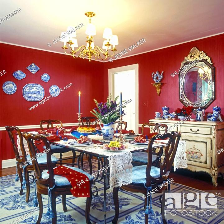 Outstanding Dining Rooms Red Walls Eclectic Mix White Painted Trim Pabps2019 Chair Design Images Pabps2019Com