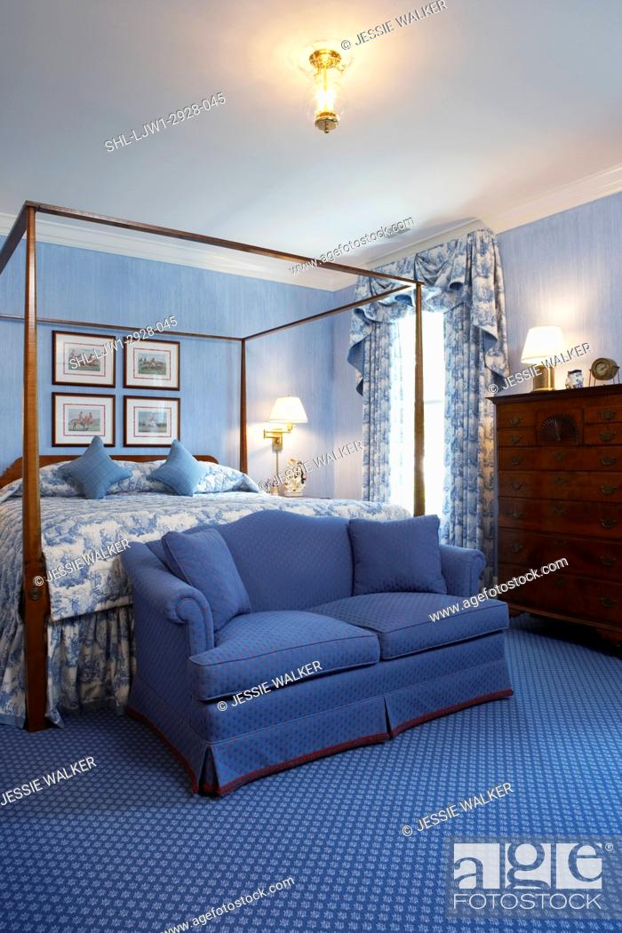 Stock Photo   Master Bedrooms: Blue Theme, Blue Wallpaper, Blue And White  Draperies, W/swag Valance, Blue W/w Carpet, Tall Chest Of Drawers, Four  Poster Bed