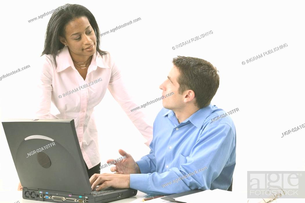 Stock Photo: Man and Woman qith Laptop.