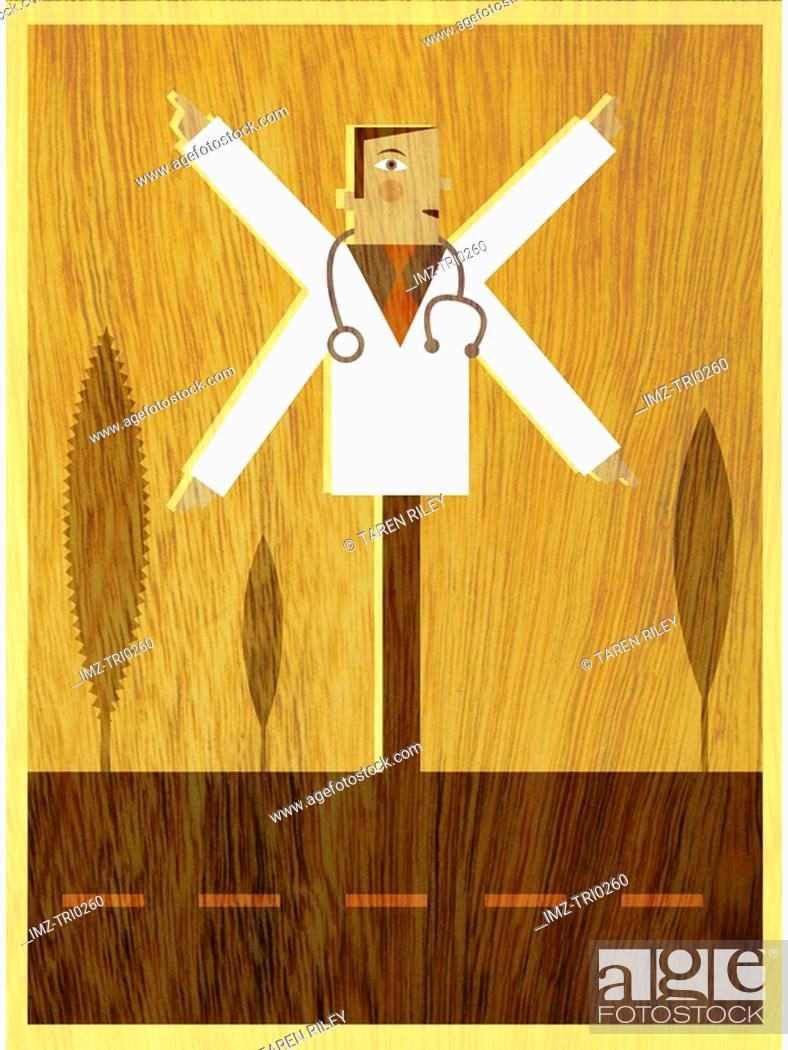 Stock Photo: A doctor with four arms pointing in different directions like road sign.