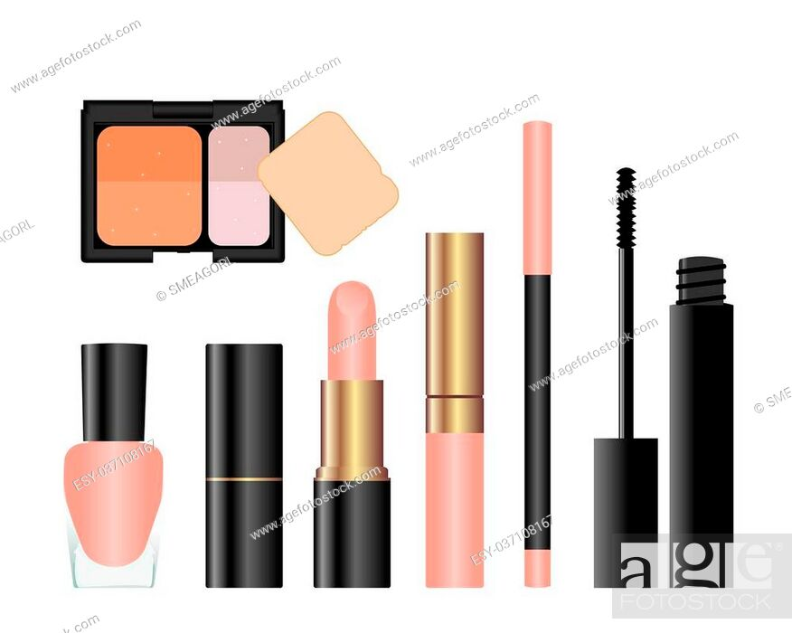 Stock Photo: Collection of female accessories of beauty. Vector.