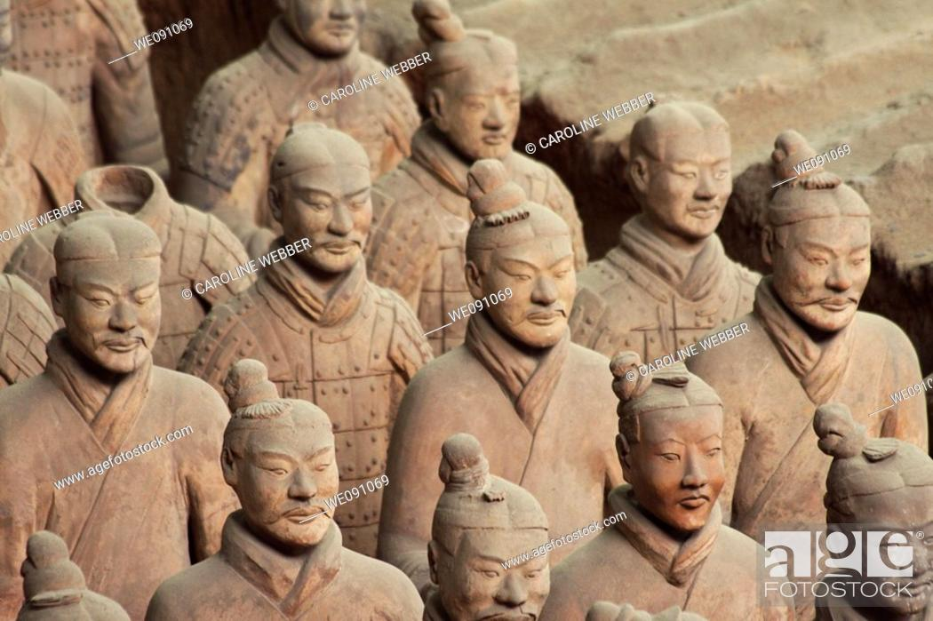 Stock Photo: Unique faces of the Terra Cotta Warriors in Xi'an China.