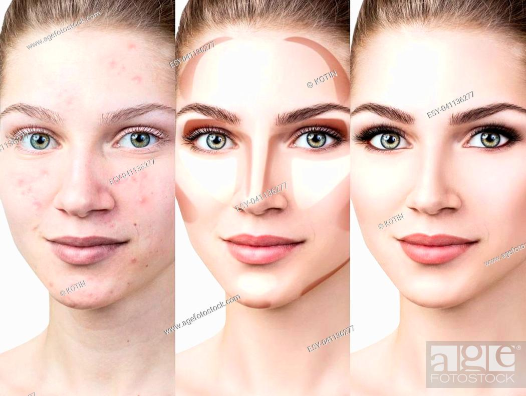 Imagen: Collage of woman applying makeup step by step. Over white background.