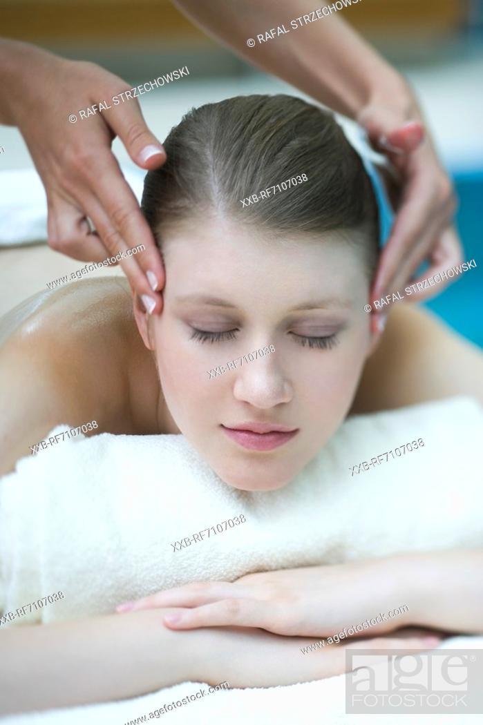 Stock Photo: Head massage.
