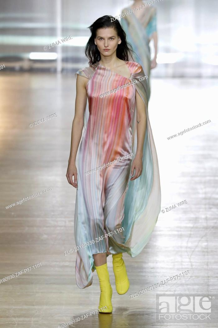 Stock Photo: September 30, 2018 - Paris, France - Poiret. - Model On Catwalk, Woman Women, Paris Fashion Week 2019 Ready To Wear For Spring Summer, Defile.