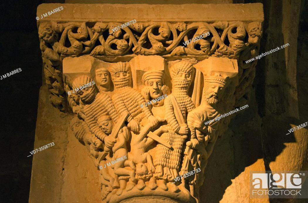 Stock Photo: Aguilar de Campoo, Santa Cecilia church (romanesque 12-13th centuries). Capital with Matanza de los Inocentes. Montaña palentina, Palencia province.