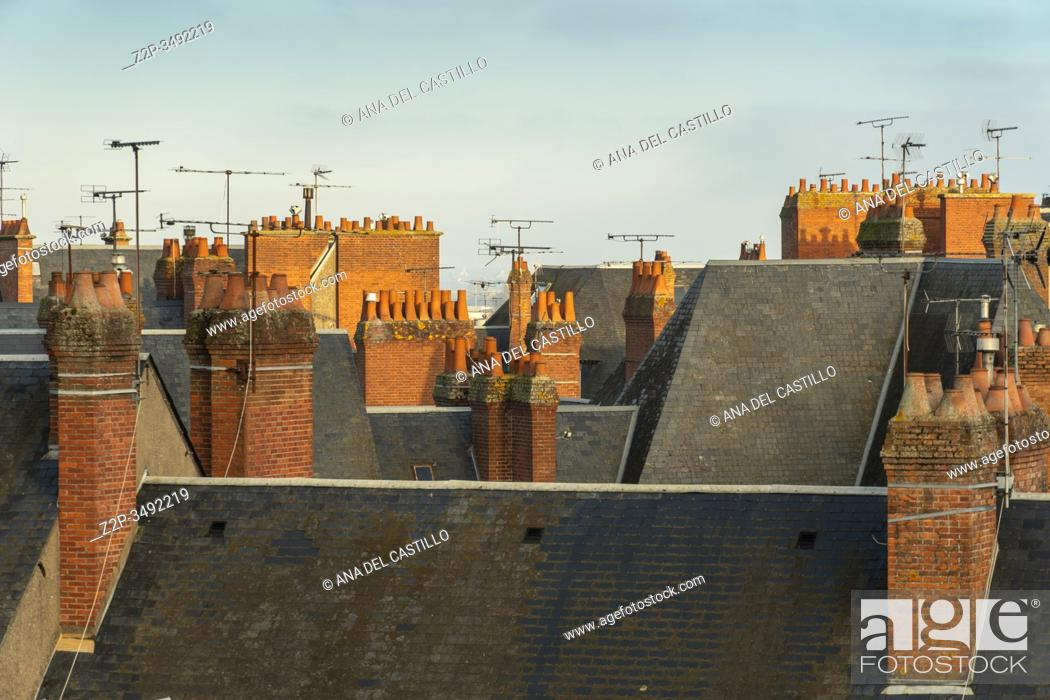 Stock Photo: Blois France on December 30, 2019: Old medieval houses from castle viewpoint in Loire Valley.