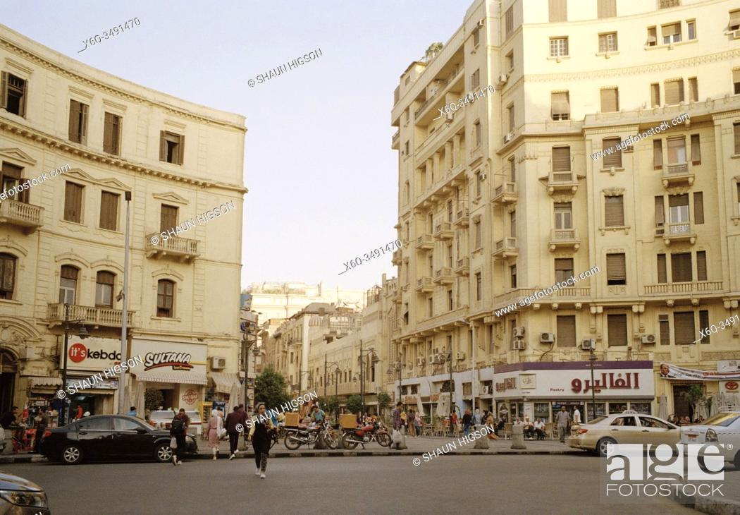 Stock Photo: Beautiful architecture in Midan Oraby Square in Central Downtown Cairo in Egypt in North Africa.