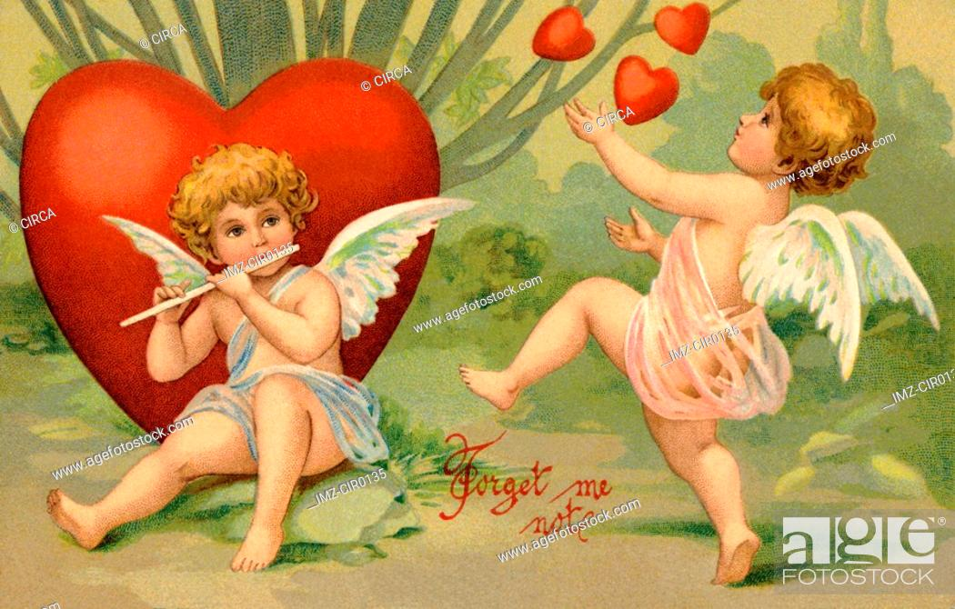 Stock Photo: A vintage Forget Me Not Valentine card with cupid playing a flute and a cherub juggling hearts.