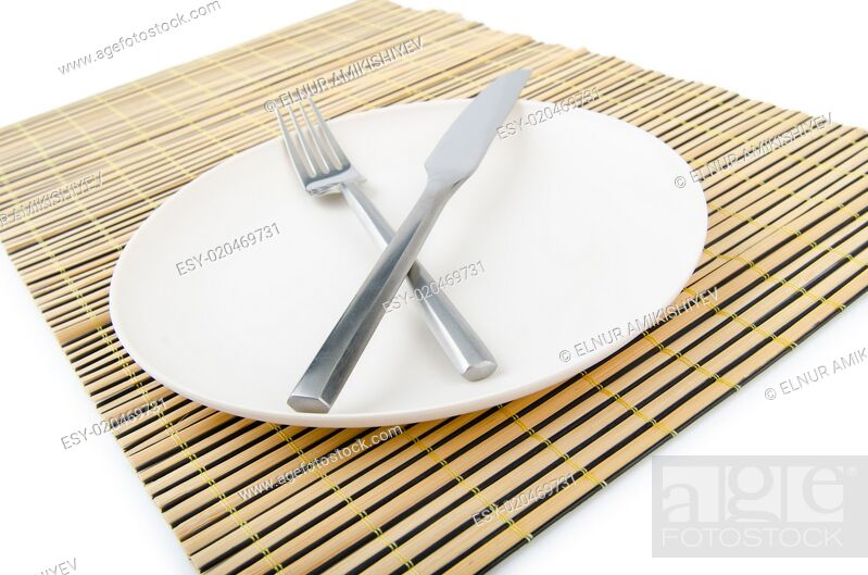 Stock Photo: Food utensils served in plate.