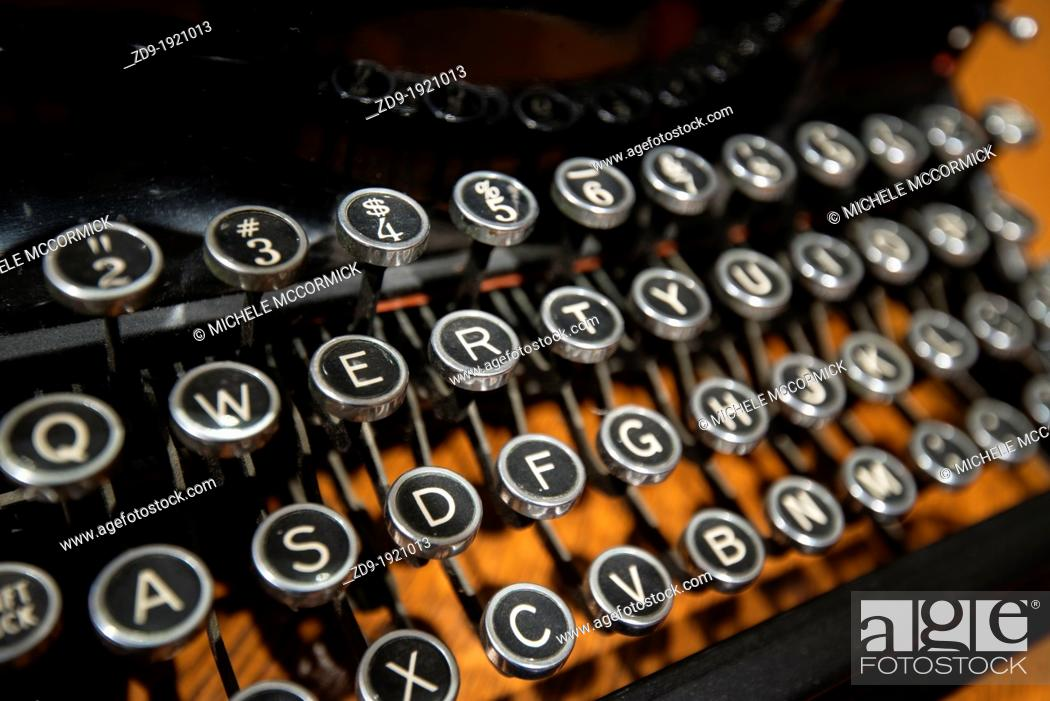 Stock Photo: Keyboard of a vintage, manual portable typewriter, circa 1920.