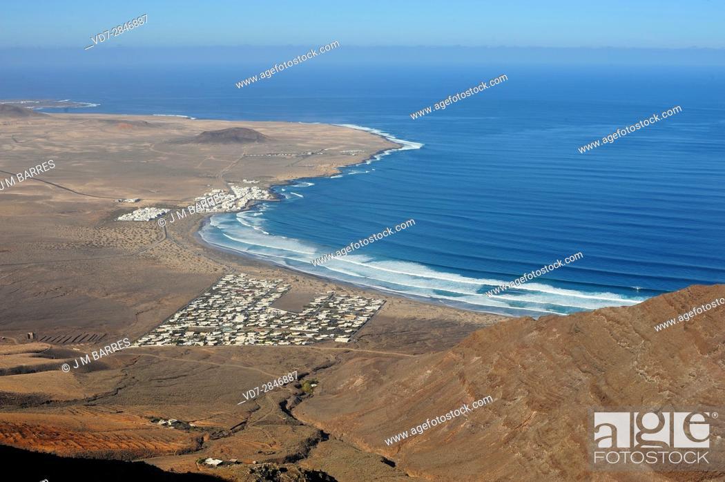 Stock Photo: La Caleta de Famara from Riscos de Famara. Lanzarote Island, Las Palmas, Canary Islands, Spain.