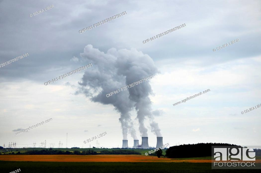 Stock Photo: Cooling towers of Nuclear Power Plant Dukovany, older of the two Czech nuclear power plants, Czech Republic pictured on June 14, 2013.