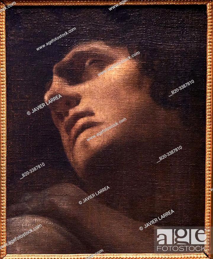 """Stock Photo: """"Étude de tête pour Ugolin"""""""", 1770-1778, Johann Heinrich Fûssli, L'Allemagne romantique exhibition, Dessins des musées de Weimar."""