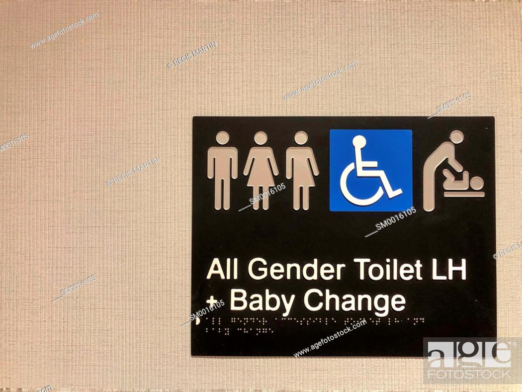 Stock Photo: All gender toilet and baby change room sign.