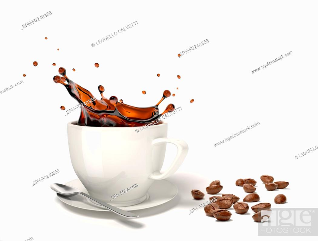Stock Photo: Liquid coffee splash in a white cup on saucer and spoon, With some coffee beans besides on the floor.