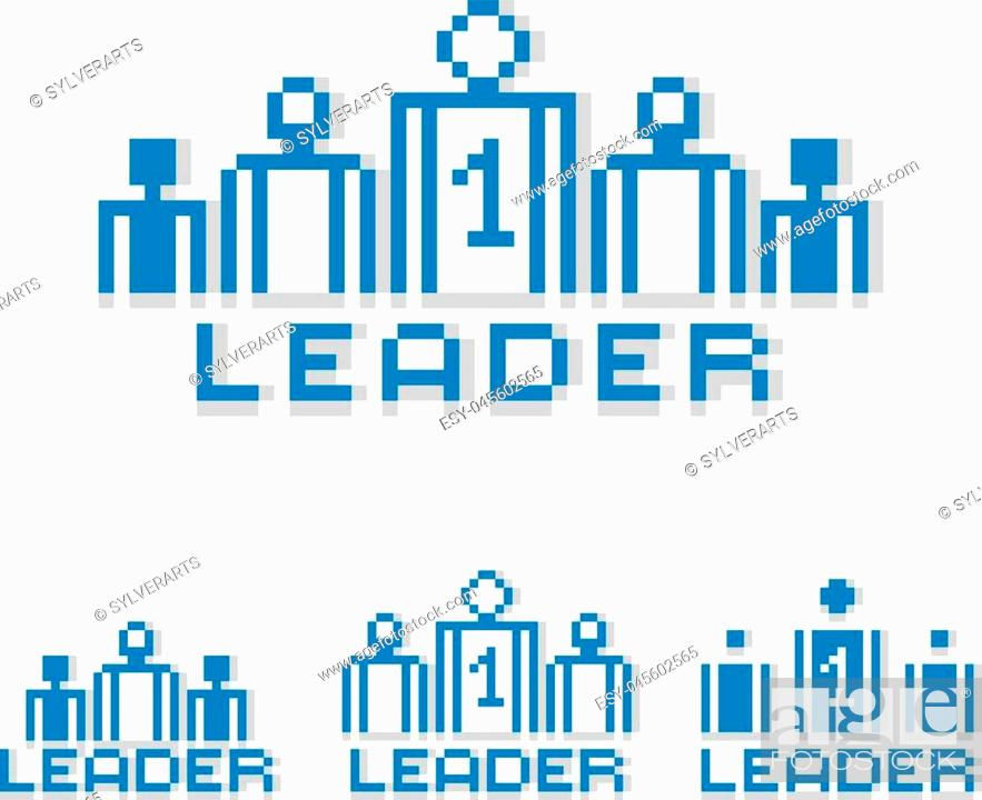 Vector: Vector pixel icon isolated, 8bit graphic element. Leader concept, number one between a team of managers. Simplistic digital sign created in business theme.
