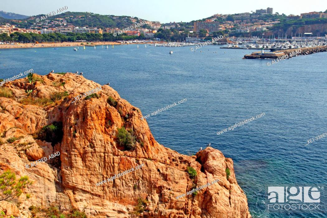 Stock Photo: beach and harbor, landscape of the Costa Brava, Mediterranean Sea, Sant Feliu de Guíxols, Girona, Catalonia, Spain.