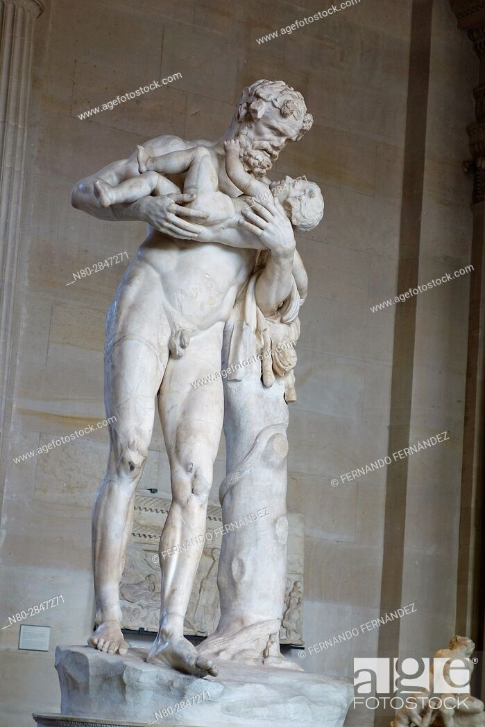 Stock Photo: Statue of Silenus with Dionysus in his arms. Greek Civilisation, 4th century BC. Caryatides room. Louvre Museum. Paris. France. Europe.
