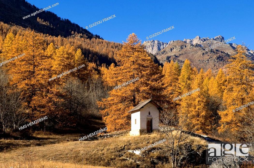 Stock Photo: France, Hautes Alpes, the Brianconnais area in autumn, La Claree Valley.