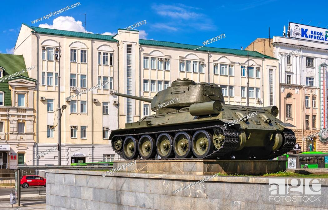 Stock Photo: Kharkiv, Ukraine 07. 17. 2020. Monument to the tank on Constitution Square in Kharkiv, Ukraine, on a sunny summer day.