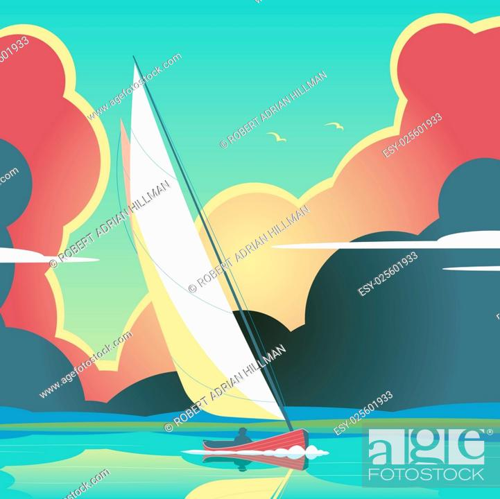 Stock Vector: Editable vector illustration of a man sailing a yacht on calm water.