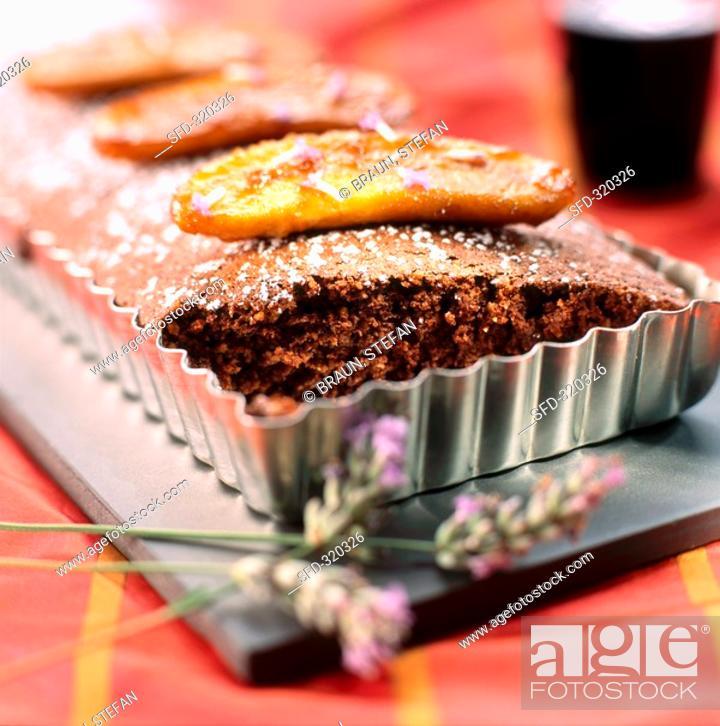 Stock Photo: Chocolate banana cake in baking tin.