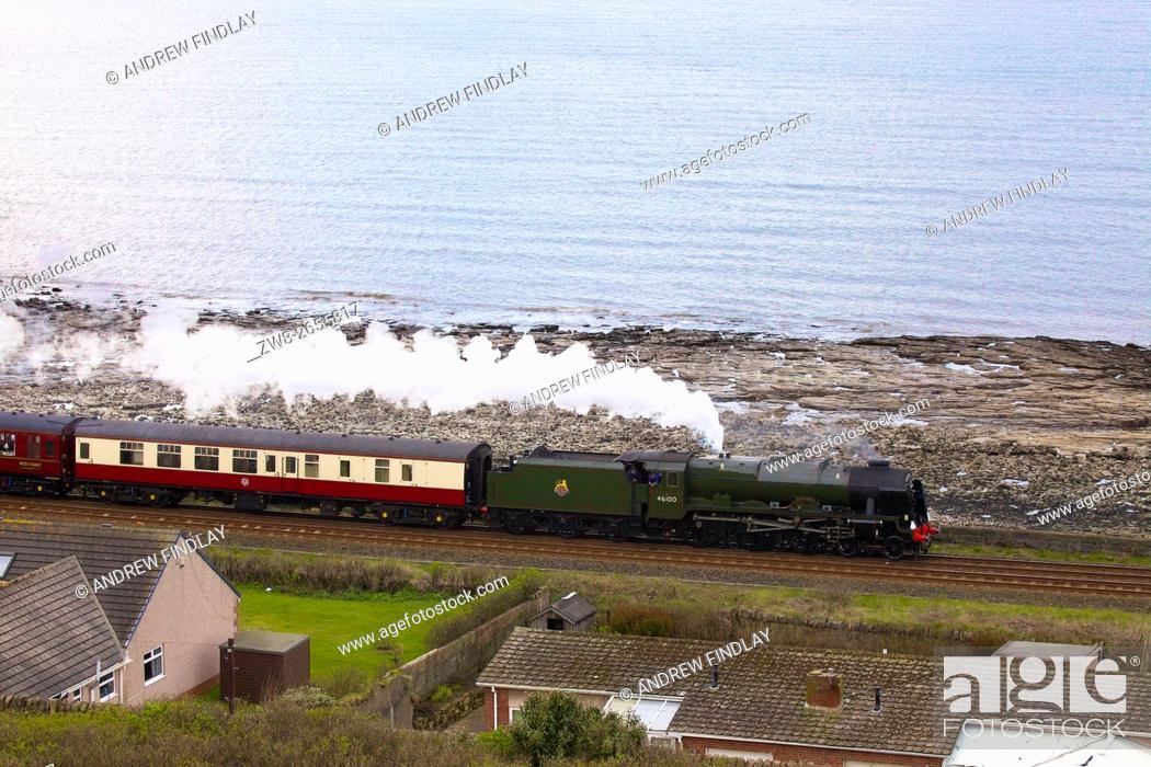 Stock Photo: Steam train LMS Royal Scot Class 7P 4-6-0 46100 Royal Scot. Tanyard Bay, Parton, Whitehaven, Cumbria, England, United Kingdom, Europe.