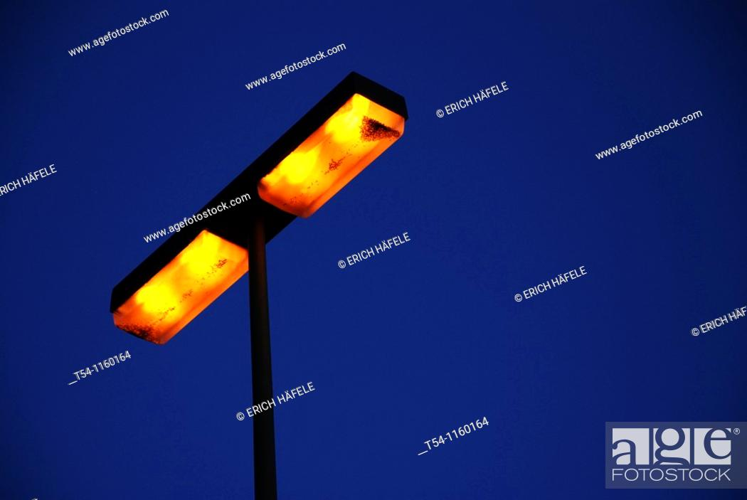 Stock Photo: Burning street lantern.
