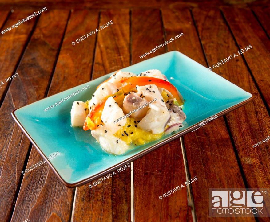 Stock Photo: Ceviche recipe modern gastronomy.