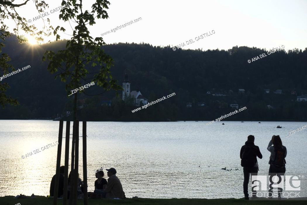 Stock Photo: Amazing sunset at the lake Bled in spring, Slovenia.