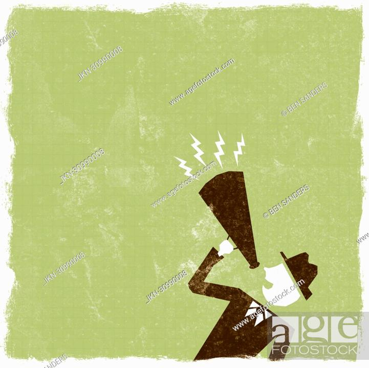Imagen: Businessman shouting in bullhorn.